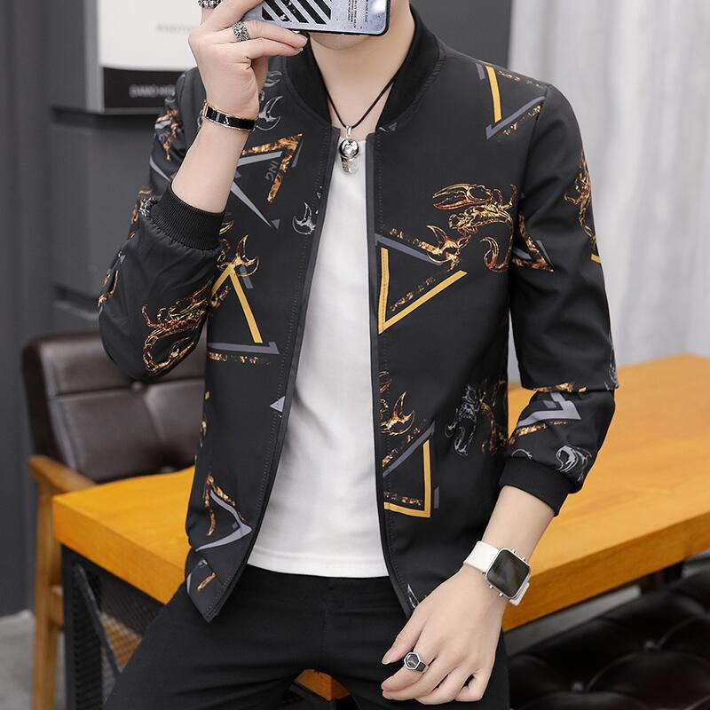 2019 Autumn New Men's Printed Bomber Jacket Thin Section Men's Baseball Collar Jacket Coat Casual Brand Men Clothing (30 Color)