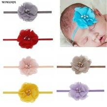 Детская повязка на голову для девочек; эластичная лента для волос с цветами; жемчужные стразы для принцессы; повязка на голову с цветами; Детские аксессуары для волос