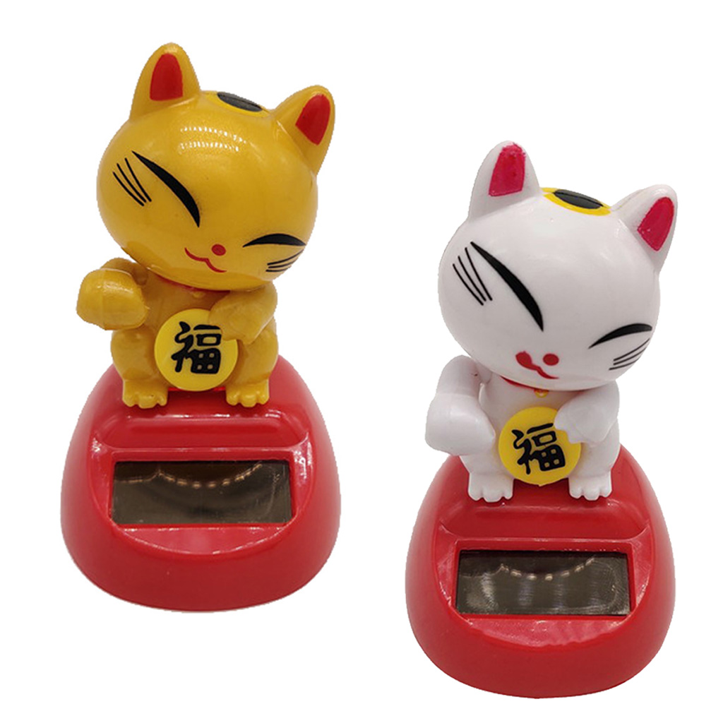 Solar Powered Bobbling Toy Shaking Hands Swinging Lucky Cat Doll Home Decor