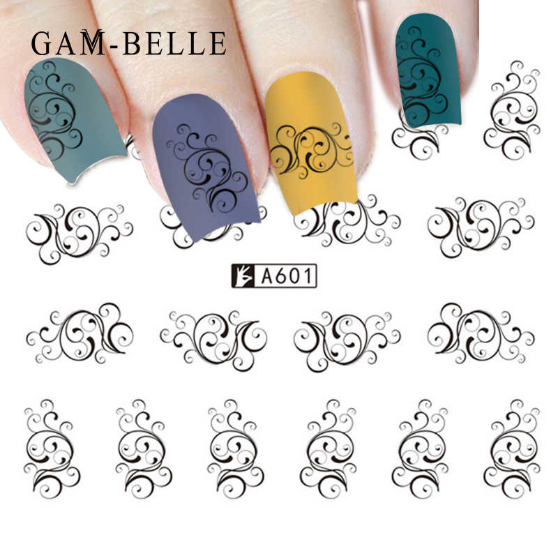 GAM-BELLE 1 Vel Nail Sticker Black Water Decal Set Sexy Kant Bloem voor DIY Slider Tips Styling Tool nail Decoratie Se