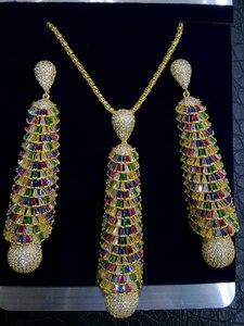 Image 3 - GODKI ארוך טאסל DROP 2PC ניגרי שרשרת עגיל תכשיטי סט לנשים חתונה מעוקב זירקון הודי דובאי כלה תכשיטים סטים