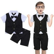 Одежда для крещения для маленьких мальчиков, одежда для новорожденных джентльменов, свадебный смокинг с бантом, праздничный костюм, летний комплект одежды для младенцев, подарок на день рождения