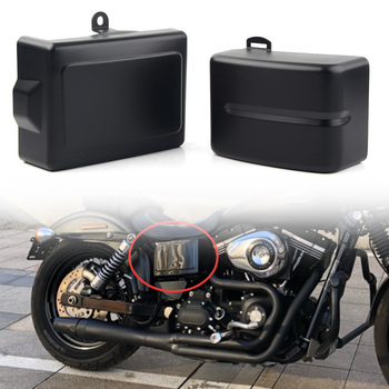 Motorcycle Battery Side Covers Left & Right For Harley Dyna Fat Street Bob Low Rider Wide Super Glide 2006-2017 Matt Black