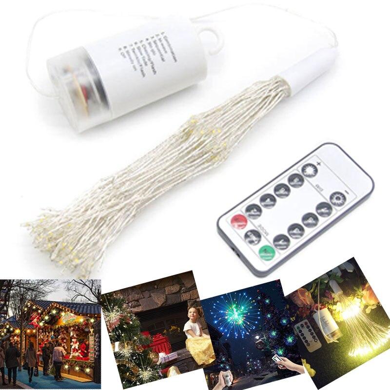 8 função de controle remoto caixa de bateria fogos de artifício forma luz fio cobre corda decoração do feriado fio cobre lâmpada luz