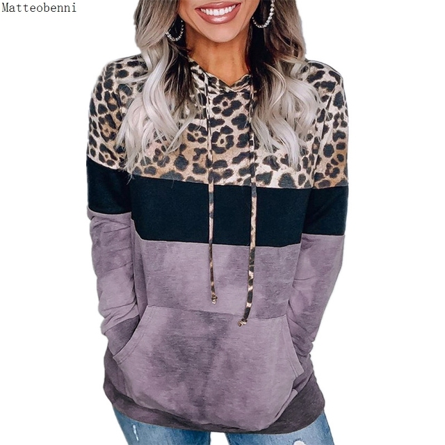 Leopard Print Hoodie Sweatshirts  Long Sleeve Oversize Pullover Loose Pocket  3