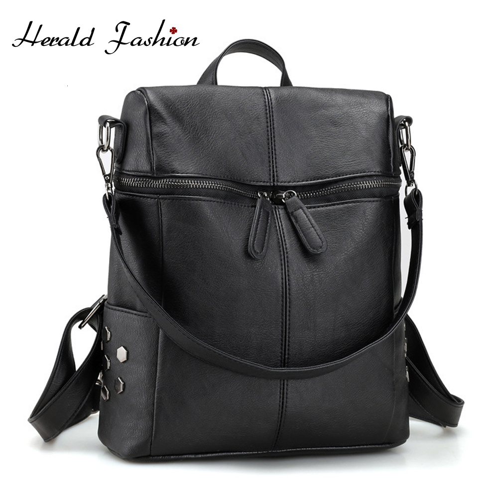 Casual Women Backpack Solid Female Shoulder Bags Quality PU Leather School Bags For Teenager Girls Vintage Travel Back Bag