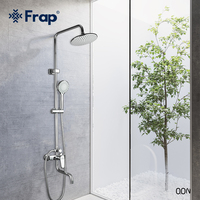 Frap Chrome Bath Shower Faucets Set Bathtub Mixer Faucet Rainfall Shower Tap Bathroom Shower Head Exposed Shower Mixer Tap F2427