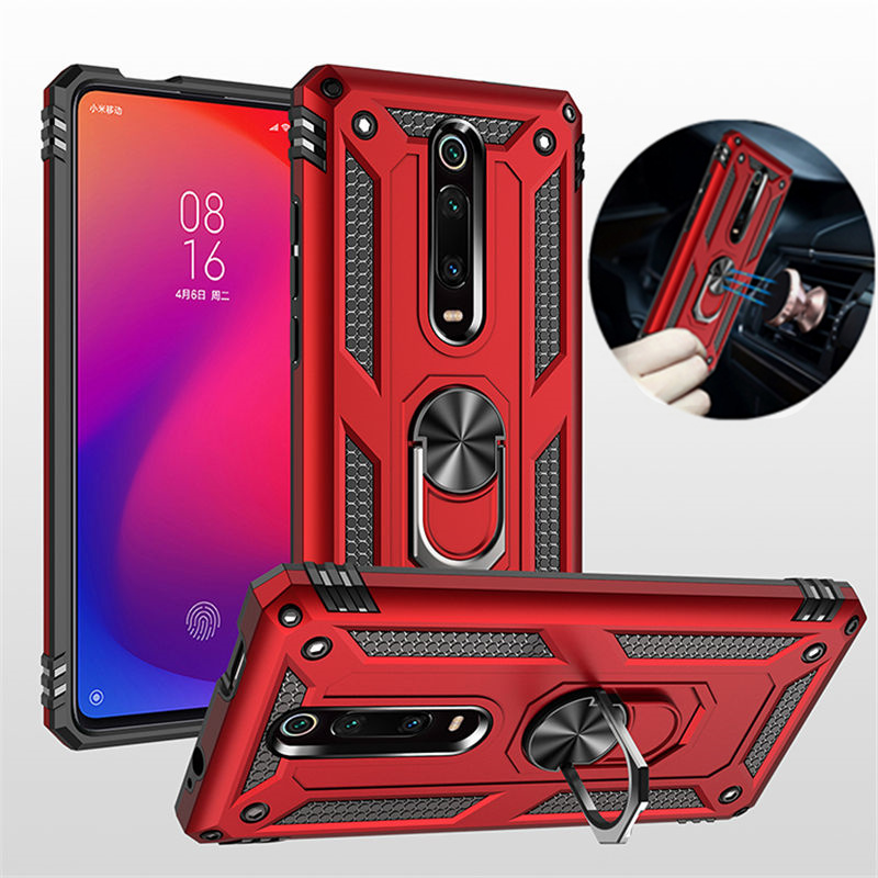 For Xiaomi K20 Pro K30 Mi9T Mi9 Mi 9T CC 9E SE CC9 Pro A3 Lite Armor Magnetic Ring Holder Case for Redmi Note 7 8 8T 10 7A 8A(China)