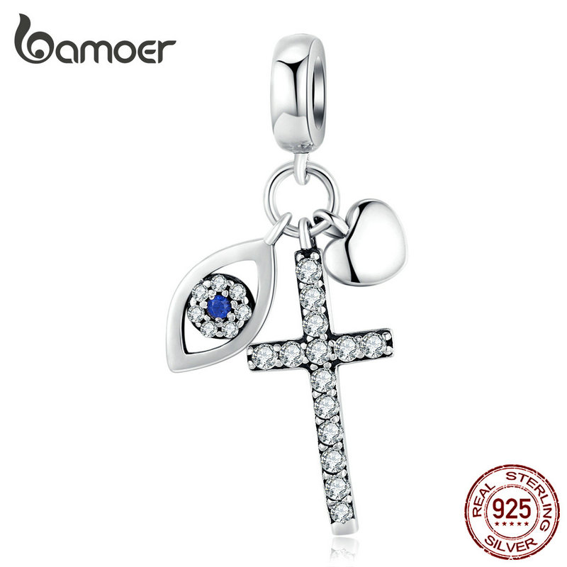 Bamoer Multiple Guardian Eye Pendant Charm For Bracelet 925 Sterling Silver Corss Charm Silver 925 Original Jewelry SCC1327