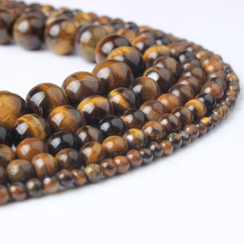 LIngXiang-bijoux naturels en forme doeil de tigre, perles amples, bracelet, collier, clou doreille, à faire soi-même, pour hommes et femmes