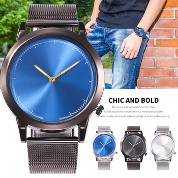 Blue dial minimalist ultra-thin business men's watch white mesh with pin buckle quartz classic casual gentleman round alloy