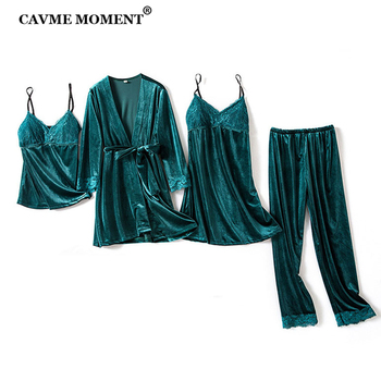CAVME Velour Pajama Sets Women Winter Sleepwear Sexy Lace 4 Pieces Solid Color Bride Custom Letters Pajama 75KG