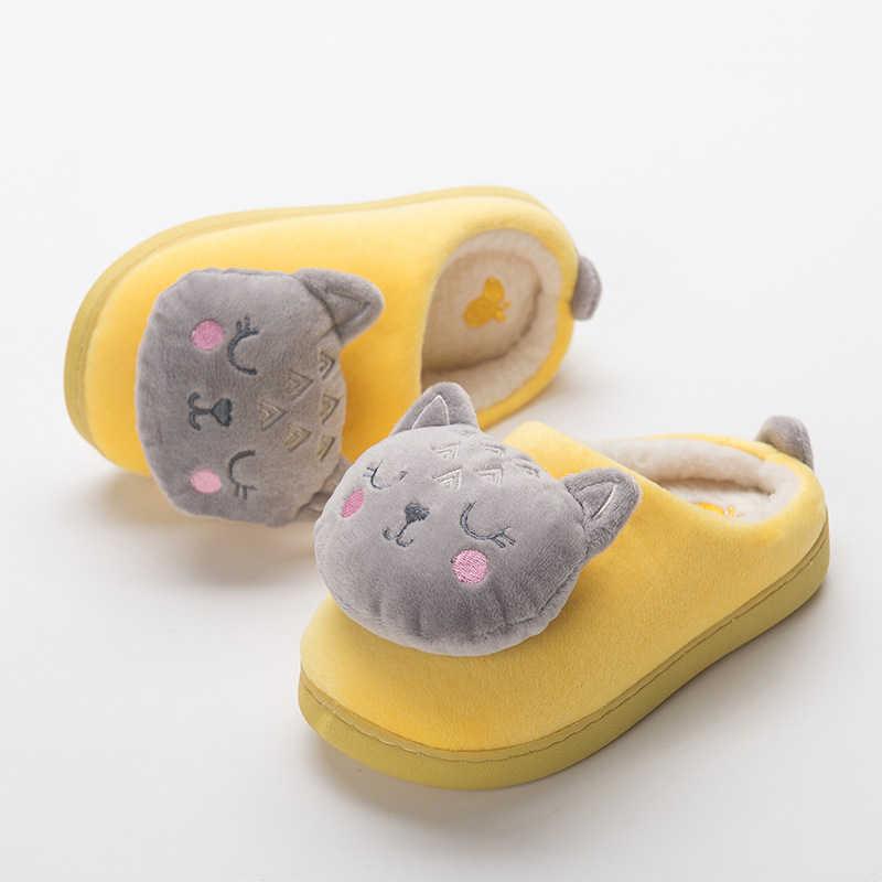Toddler Girl Indoor Home Velvet Household Slippers Kids Boy Cotton Fur Plush Flip Flops Children Winter Warm Bedroom Flats Shoes