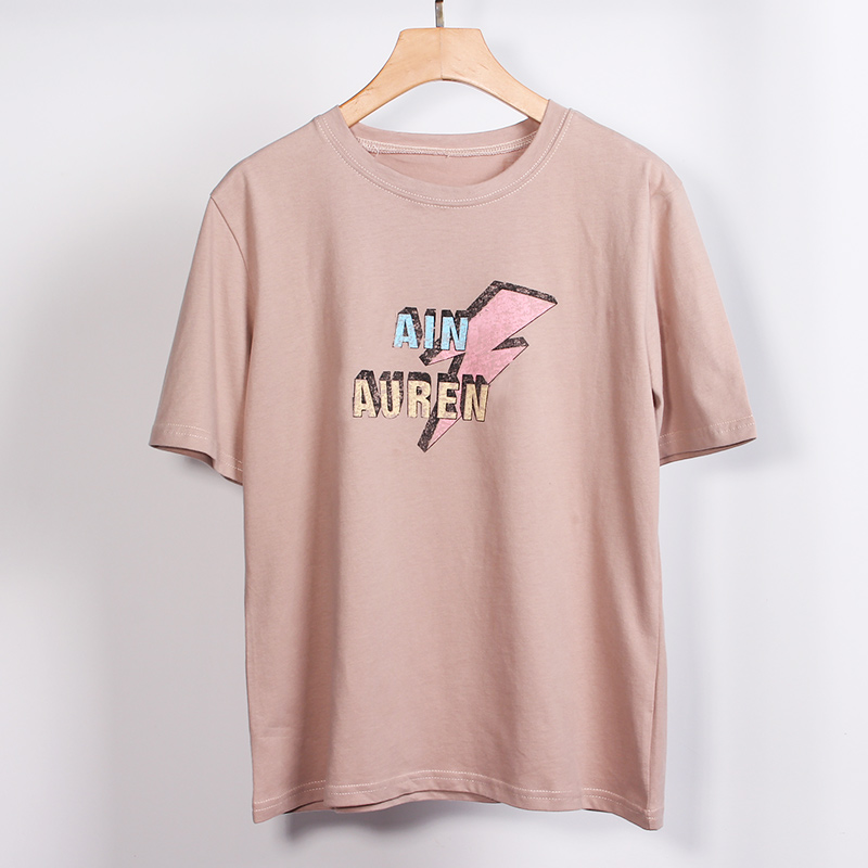 100% bawełna damska koszulka z krótkim rękawem Top O-Neck czarny biały list drukuj koszulki kobieta 2019 Summer Lady Tee topy w magazynie 4
