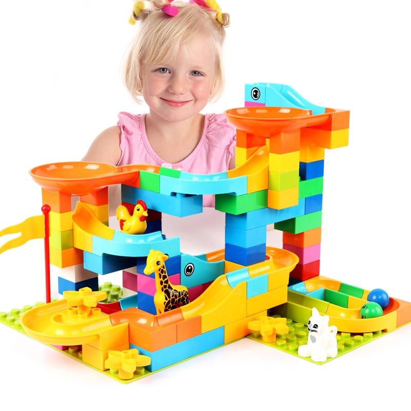 Bloques de construcción de mármol mágico Compatible con LegoINGlys bloques de construcción Duploed bloques de deslizamiento de embudo DIY ladrillos para niños