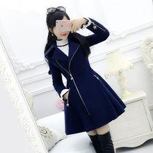 Темно-синее шерстяное пальто на молнии с длинным рукавом для ранней осени, свободное Женское пальто, платье