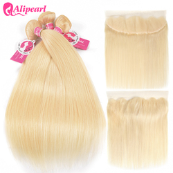 Ali Pearl Hair 613 Blonde Bundles With Frontal Pre Plucked Straight Hair Honey Platinum Blonde Bundles With Closure Remy Hair
