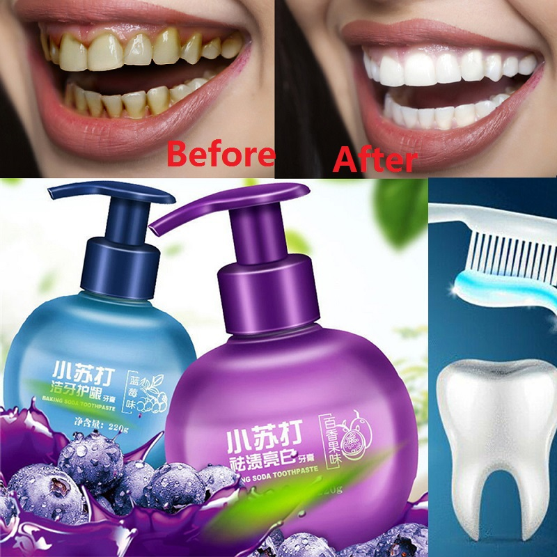 Baking Soda Toothpaste Intense Stain Remover Whitening Anti Bleeding Gums For Brushing Teeth Passion Fruit Blueberry Flavor 220g