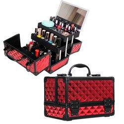 Vrouwen Aluminium Cosmetische Gevallen Met Spiegel Makeup Box Reizen Beauty Tatoeages Nail Art Tool Nagellak Organizer Nieuwe