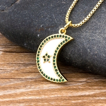 fashion vintage black eclipse necklace women long chain celestial moon crescent pendant necklace jewelry accessories party dress NEW Fashion Cute Moon Pendant Necklace Top Quality Copper Zircon Long Chain Pendant For Women Best Party Wedding Jewelry