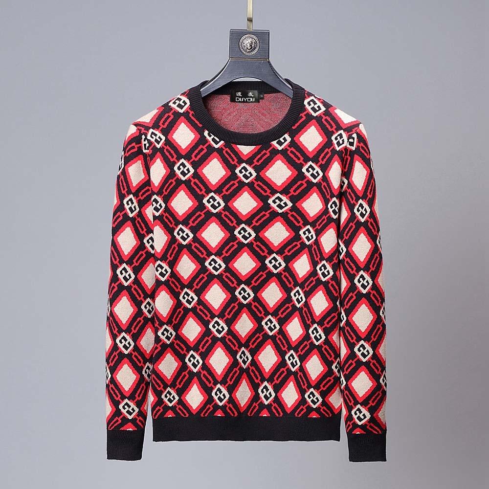 DUYOU Autumn Men's Sweater Fashion Trend Comfortable Contrast Color CC Print Casual Sweater Top Menswear 2019 Male Sweater