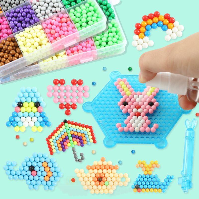500pcs 24 Colors Refill Beads Puzzle Crystal DIY Water Spray Beads Set Ball Games 3D Handmade Magic Toys For Children's Day Gift