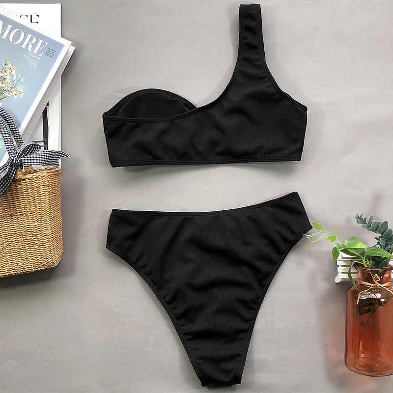بدلة سباحة بيكيني بكتف واحد من INGAGA ملابس سباحة للسيدات بخصر مرتفع لباس سباحة أسود موضة 2020 ملابس شاطئ بيكيني