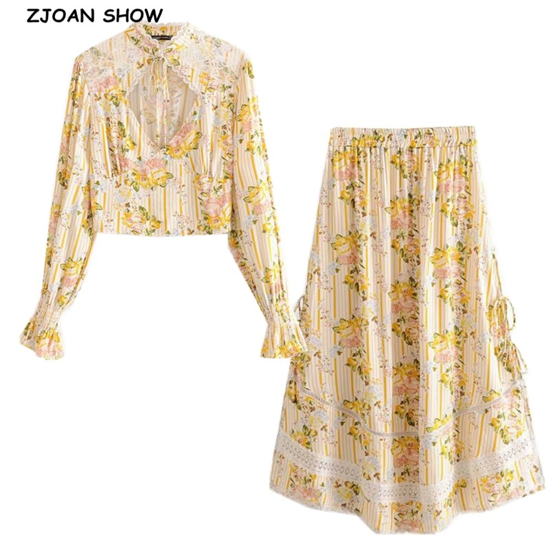 Bohemian Lace Spliced Striped Floral Shirt Yellow Sexy Women Elastic Waist Long Skirt Long Sleeve Blouse Holiday 2 Pieces SetWomens Sets   -