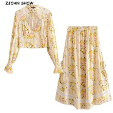 Bohemian Lace Spliced Striped Floral Shirt Yellow Sexy Women Elastic Waist Long Skirt Long Sleeve Blouse Holiday 2 Pieces Set