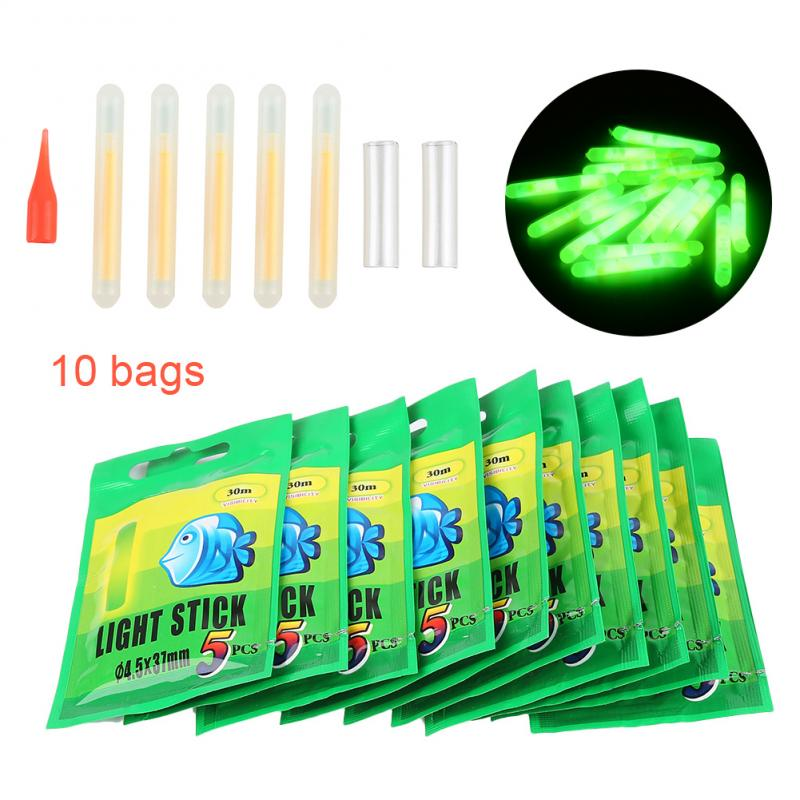 50pcs 4.5*37mm Fishing Fluorescent Lightstick Night Float Rod Light Dark Glow Stick Useful Lots Fishing Tools At Night
