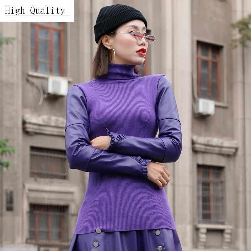 새로운 스플 라이스 양모 슬리브 니트 겨울 여성 의류 슬림 피트 터틀넥 캐쥬얼 스웨터 레이디 멀티 컬러 하이 넥 니트웨어