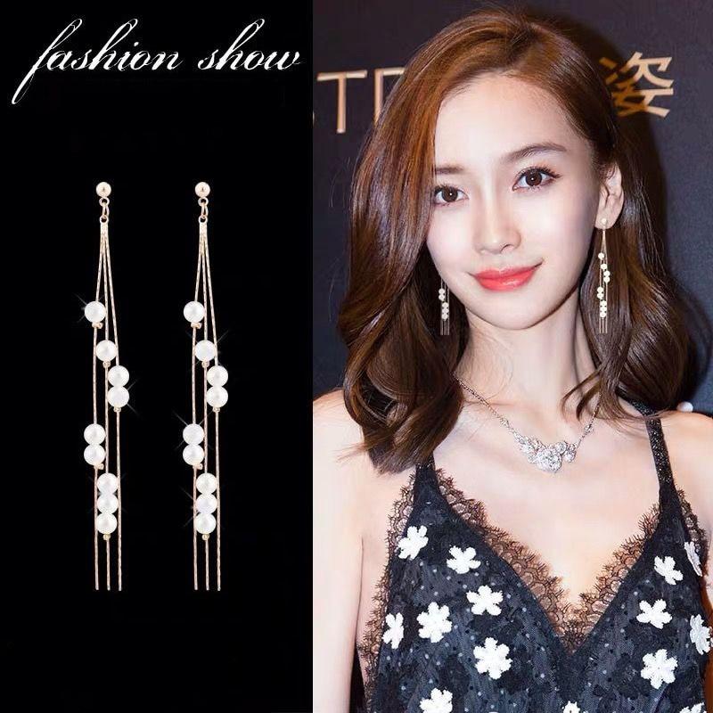 Korean Pearl Long Tassel Drop Earrings for Women Girl Temperament Charm Female Simulated Pearl Pendant Hanging Earring Wholesale(China)