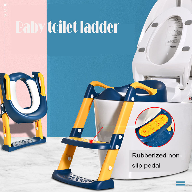 Children's Folding Potty Seat Urinal Backrest Training Chair with Step Stool Ladder for Baby Toddlers Infant Safe Toilet Potties