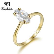 Kuololit 100% ธรรมชาติMarquise Moissanite 10KสีเหลืองทองแหวนSolitaireแหวนสัญญาครบรอบของขวัญสำหรับเธอ