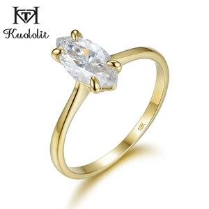Image 2 - Kuololit 100% טבעי המרקיזה Moissanite 10K צהוב זהב טבעות לנשים סוליטייר טבעת עבור מבטיחים יום נישואים מתנה בשבילה