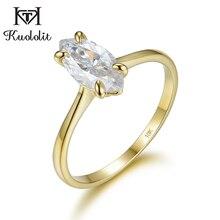 Kuololit 100% naturalny marquise Moissanite 10K żółte złote pierścionki dla kobiet pasjans pierścień na obietnica rocznica prezent dla niej