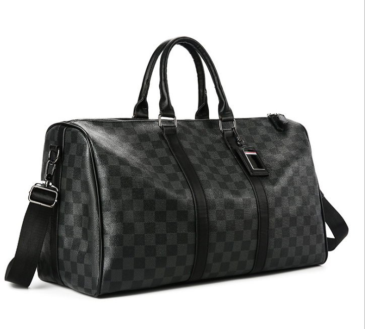 Classic Plaids Poker Pattern Travel Duffle Bag Business City Commuter Sport Gym Outing Bag Premium PU Luxury Designed Men Pack