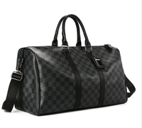 Classic Plaids Poker Pattern Travel Duffle Bag Business City Commuter Sport Gym Outing Bag Premium PU Luxury Designed Men Pack