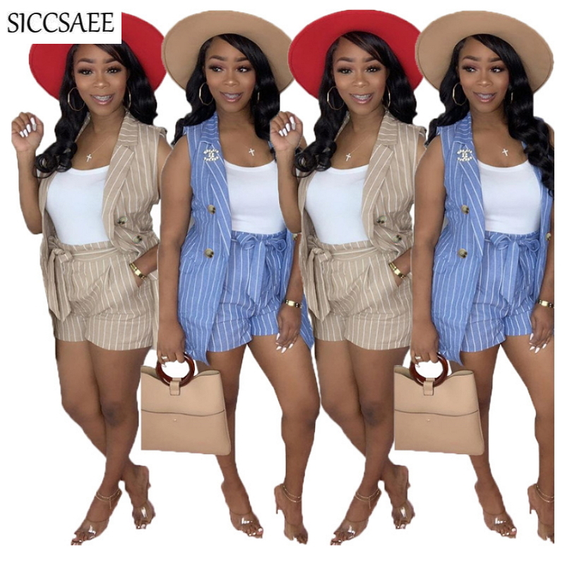 Office Lady Work Wear Sleeveless Blazer And Shorts Sets For Women Striped Printed Two Piece Set Conjunto Feminino Short E Blusa