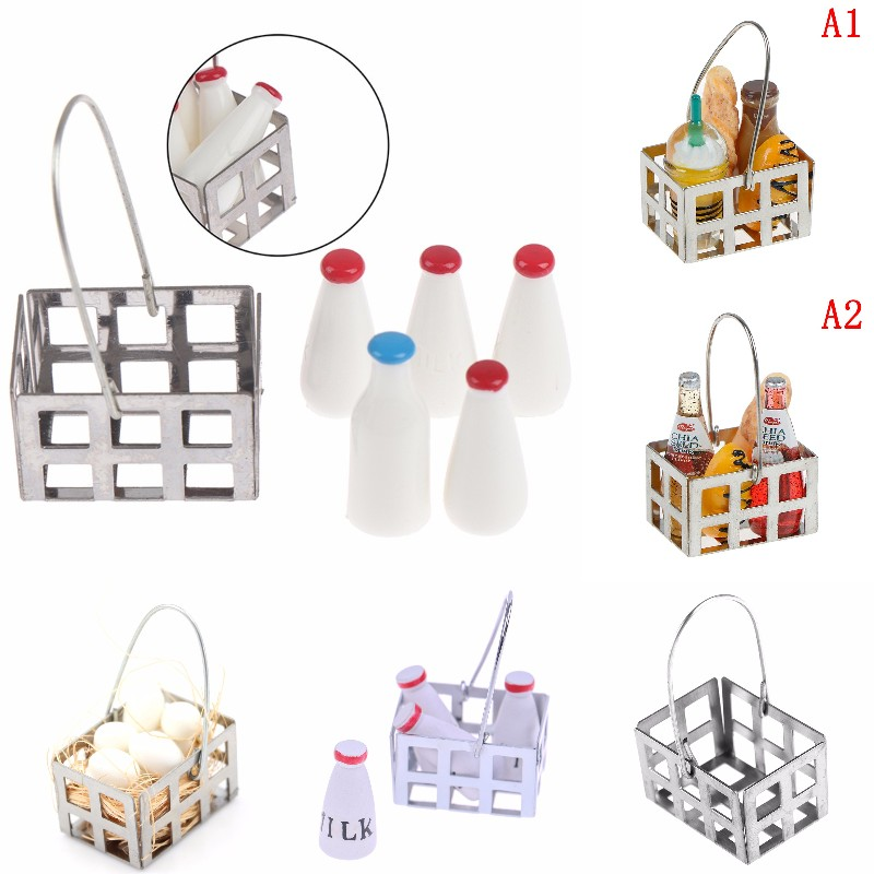 1/12 Dollhouse Miniature Milk Rack Basket Jug With Lid Bottle Dolls House Kitchen Accessories Furniture Decor Baby DIY Toys