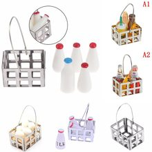 1/12 Dollhouse Miniature Milk Rack Basket Jug with Lid Bottle Dolls House Kitchen Accessories Furniture Decor Baby DIY Toys(China)