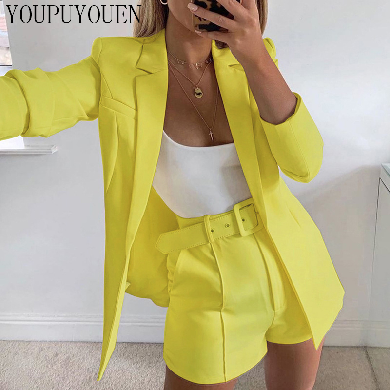 Blazer Shorts Suit Set Sexy Fashion Casual Woman Jacket Elegant Women Clothing Spring Summer 2020 2 Piece Sets Outfits Two Piece
