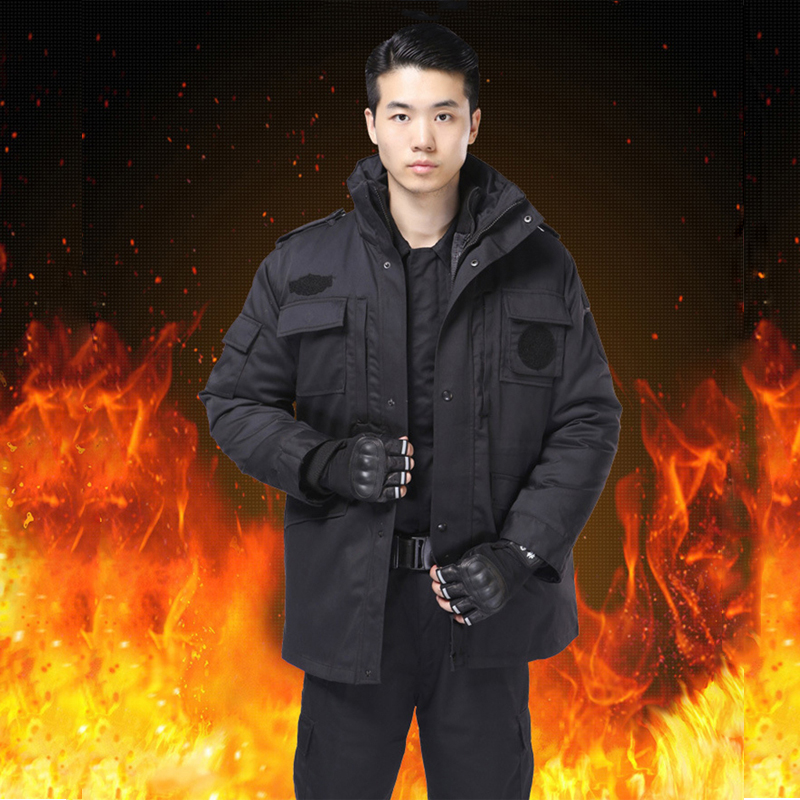 Black Security Guard Uniform Warm Winter Outdoor Parka Army Uniform Tactical Long Sleeve Coat Windproof Jacket Training Fishing