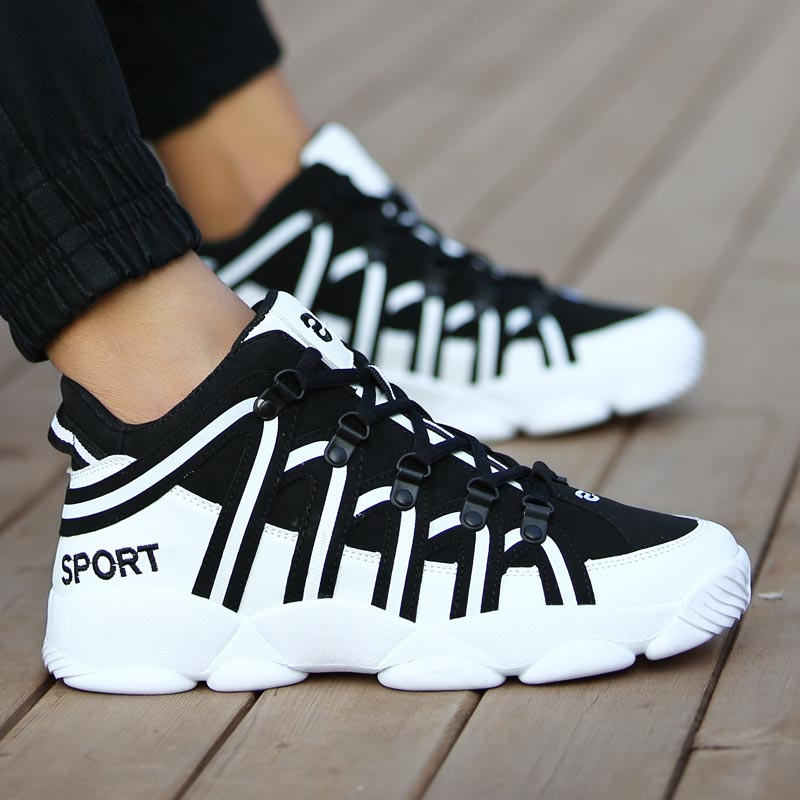 PU Leather Shoes Sport Men Leather Black Men Running Shoes Sports Women Sneakers For Men Autumn Trainers Athletic Training A-383