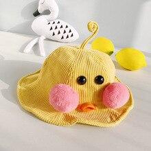 Cute Cartoon Corduroy Bucket Hat Caps Children Fisherman Panama Cotton Layer Fabric Kids Sunscreen For Boys and Girls