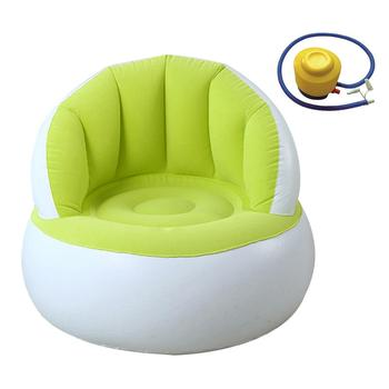 Children Inflatable Sofa With Backrest Cute Flocking Colorful Folding Blow Up Sofa Chair Dining Lunch Chair Seat Feeding Chair