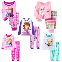 Disney crianças pijamas crianças princesa anna elsa sleepwear crianças dos desenhos animados conjunto de roupas de manga longa pijamas pijamas pijamas pijamas