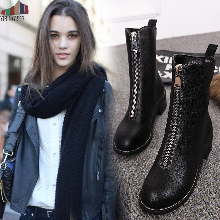 Winter Cow Suede High Street Fashion Round Toe High Quality Nude Decoration Full Grain Leather Knee-high Boots