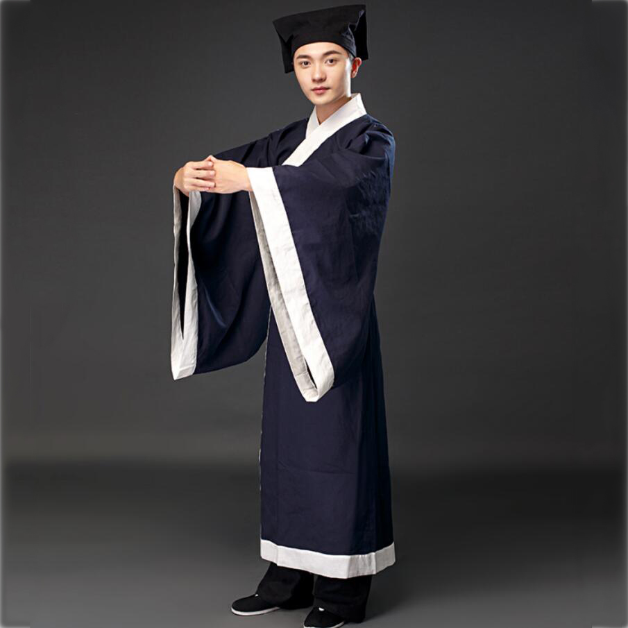 Chinese Traditional Tang Suit Hanfu Long Gown for Man Full Sleeve  Men Robe Stage Performance wear film TV cosplay costume