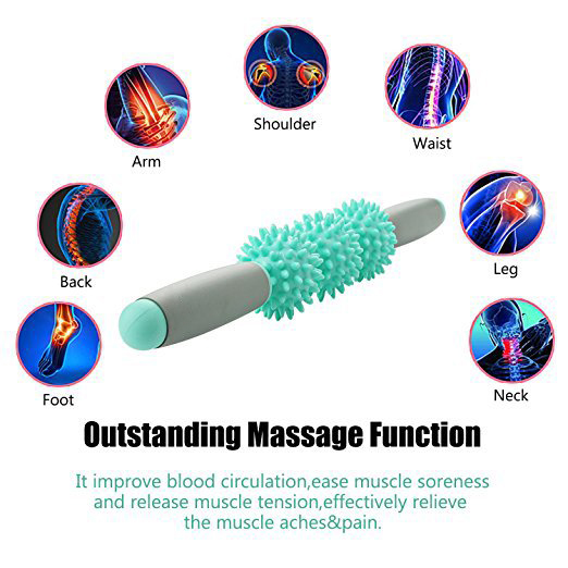 Gym Muscle Massage Roller With 3 Point Spiky Ball Yoga Stick Body Massage Relax Tool Muscle Roller Sticks Fitness Yoga Gym